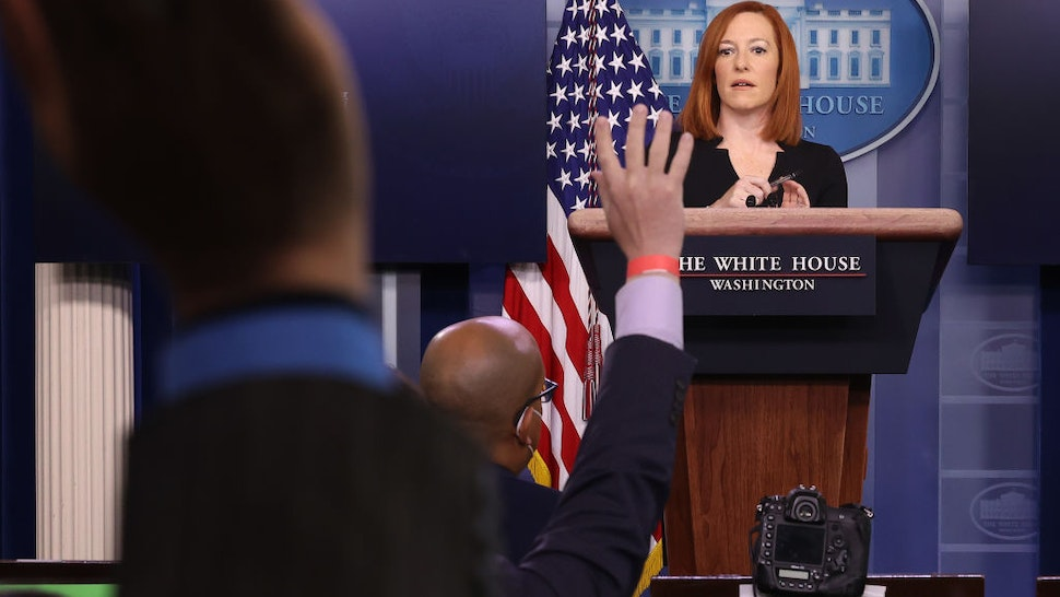 White House Press Secretary Jen Psaki talks to reporters during her daily news briefing at the White House February 01, 2021 in Washington, DC.