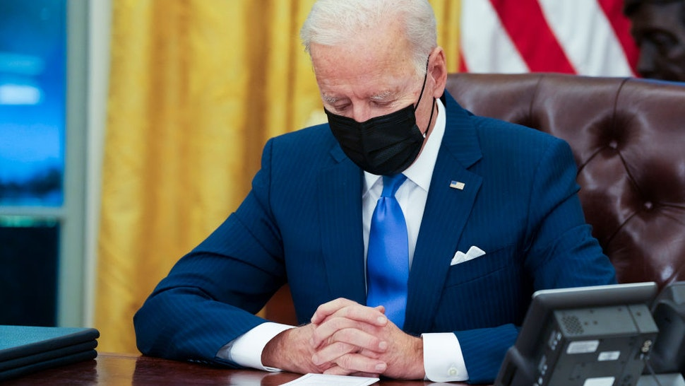 U.S. President Joe Biden makes brief remarks before signing several executive orders directing immigration actions for his administration in the Oval Office at the White House on February 02, 2021 in Washington, DC.