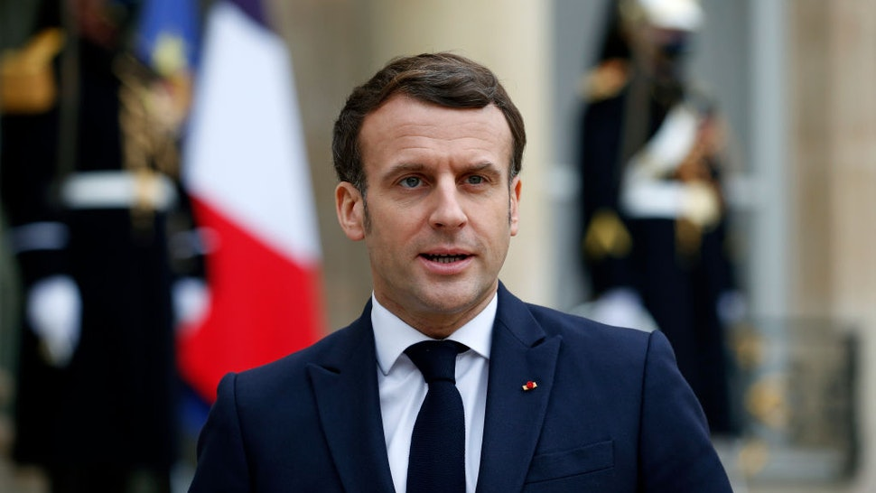 French President Emmanuel Macron makes a statement prior to a working lunch with Moldovan President Maia Sandu during an official visit at the Elysee Palace on February 4, 2021 in Paris, France.