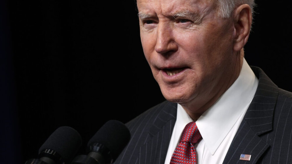 WASHINGTON, DC - FEBRUARY 10: U.S. President Joe Biden speaks as he makes a statement at the South Court Auditorium at Eisenhower Executive Building February 10, 2021 in Washington, DC. President Biden made a statement on the coup in Burma.