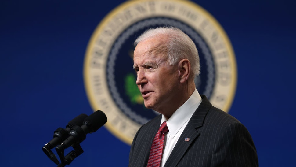 U.S. President Joe Biden speaks as he makes a statement at the South Court Auditorium at Eisenhower Executive Building February 10, 2021 in Washington, DC.