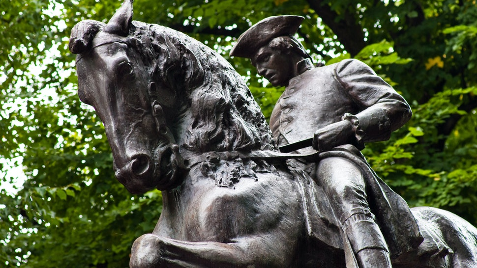 The Paul Revere statue in North End Boston, MA, sculpted by Cyrus Dallin and unvieled on September 22, 1940.""