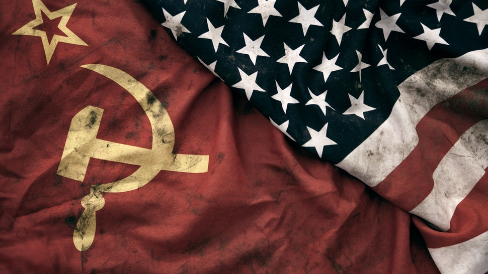 Grungy Flags of Soviet Union and USA - stock photo