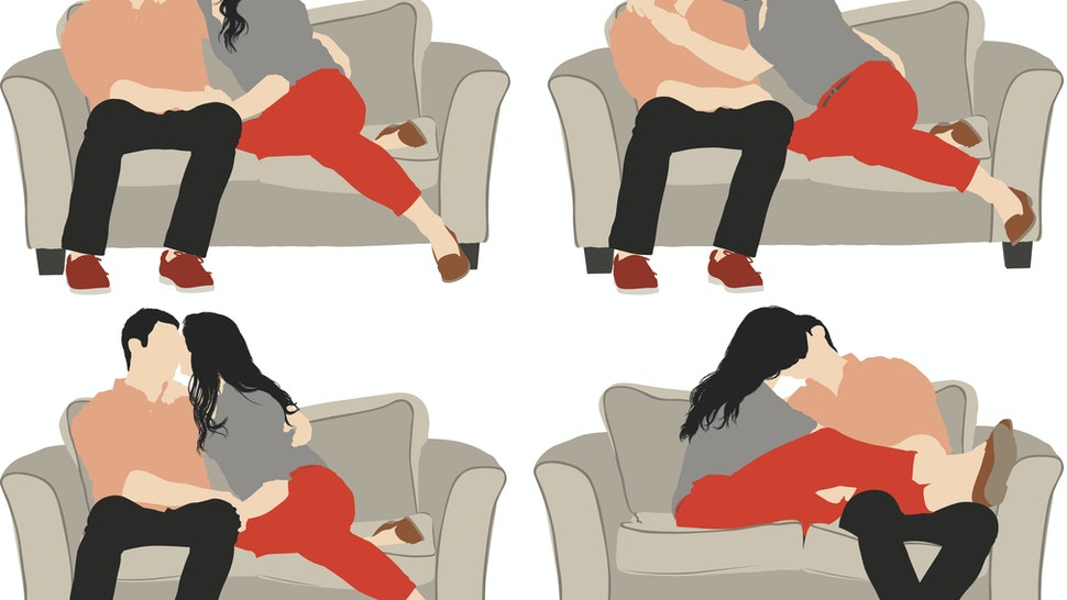 Vector of romantic couple on sofa - stock vector