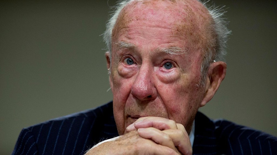"George Shultz, former secretary of state, listens during a Senate Armed Services Committee hearing in Washington, D.C., U.S., on Thursday, Jan. 29, 2015. The hearing was titled ""Global Challenges and the U.S. National Security Strategy."" Photographer: Andrew Harrer/Bloomberg via Getty Images"