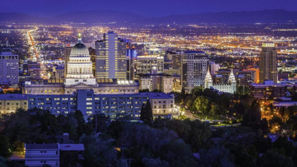 Salt Lake City downtown landmarks illuminated dusk panorama Utah USA