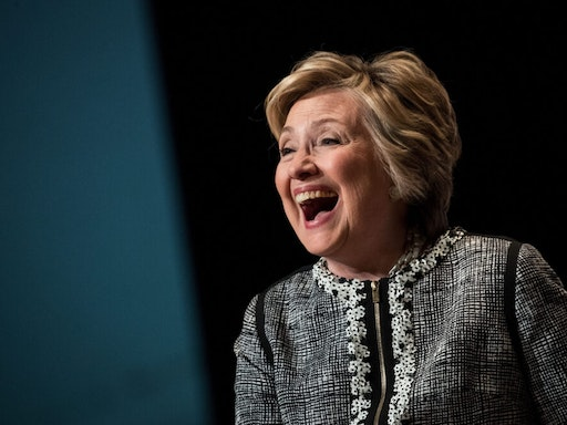 NEW YORK, NY - JUNE 1: Former U.S. Secretary of State and 2016 presidential candidate Hillary Clinton laughs while speaking during BookExpo 2017 at the Jacob K. Javits Convention Center, June 1, 2017 in New York City. Clinton will release her latest memoir in October via publisher Simon & Schuster.