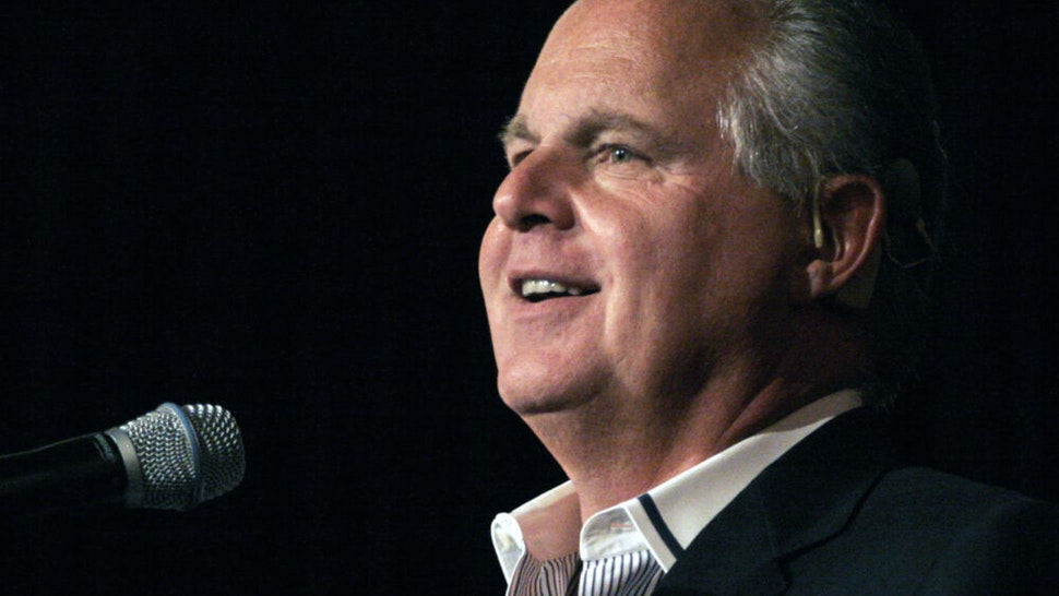 """NOVI, MI - MAY 3: Radio talk show host and conservative commentator Rush Limbaugh speaks at """"An Evenining With Rush Limbaugh"""" event May 3, 2007 in Novi, Michigan. The event was sponsored by WJR radio station as part of their 85th birthday celebration festivities."""