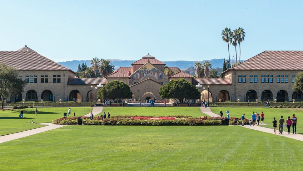 A general view of the Main Quadrangle and Memorial Church on the Stanford University campus before a NCAA Pac-12 football game between the Stanford Cardinal and the Arizona State University Sun Devils played on September 30, 2017 at Stanford Stadium in Palo Alto, California.
