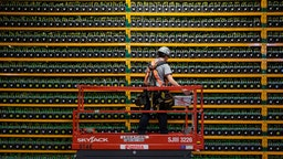 TOPSHOT - A technician inspects the backside of bitcoin mining at Bitfarms in Saint Hyacinthe, Quebec on March 19, 2018. - Bitcoin is a cryptocurrency and worldwide payment system. It is the first decentralized digital currency, as the system works based on the blockchain technology without a central bank or single administrator. (Photo by Lars Hagberg / AFP) (Photo by LARS HAGBERG/AFP via Getty Images)