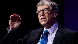 LONDON, ENGLAND - APRIL 18: American businessman and philanthropist Bill Gates makes a speech at the Malaria Summit at 8 Northumberland Avenue on April 18, 2018 in London, England. The Malaria Summit is being held today to urge Commonwealth leaders to commit to halve cases of malaria across the Commonwealth within the next five years with a target to 650,000 lives.