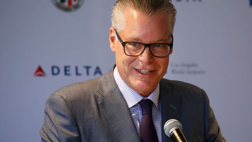 LOS ANGELES, CA – May 31, 2018: Delta CEO Ed Bastian, at a press conference to announce that Delta Air Lines and Los Angeles World Airports (LAWA) have formally kicked off the Delta Sky Way at LAX project — Delta's $1.86 billion plan to modernize, upgrade and connect Terminals 2, 3, and the Tom Bradley International Terminal (Terminal B). Construction is expected to begin this fall. The project kick-off follows the LAWA Board of Airport Commissioners' recent approval of the largest tenant improvement award in its history, which cleared the way for the Delta Sky Way at LAX to begin. (Al Seib / Los Angeles Times)
