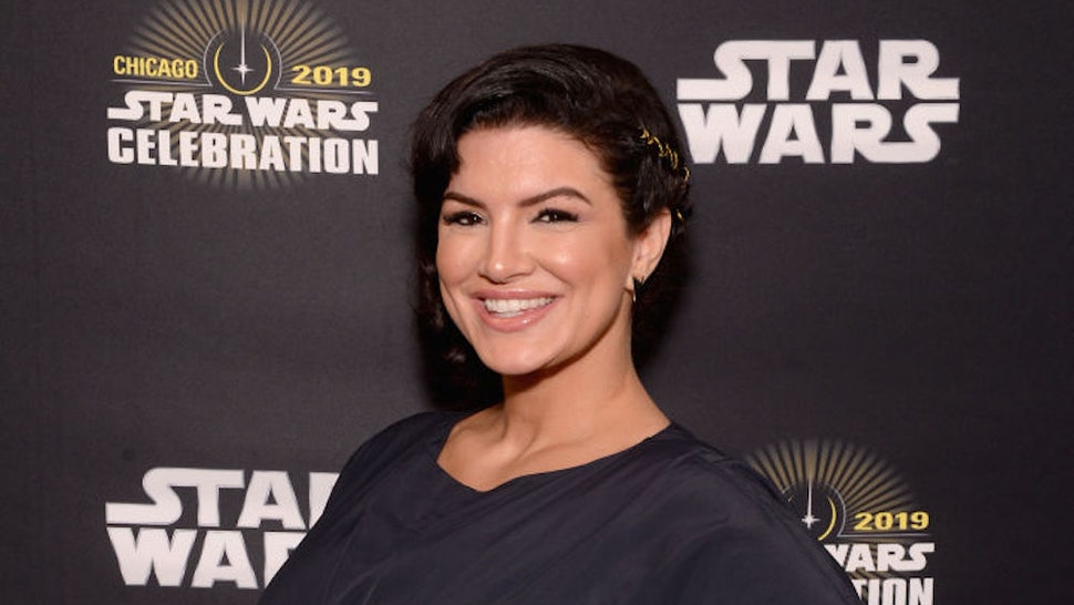 "CHICAGO, IL - APRIL 14: Gina Carano (Cara Dune) attends ""The Mandalorian"" panel at the Star Wars Celebration at McCormick Place Convention Center on April 14, 2019 in Chicago, Illinois. (Photo by Daniel Boczarski/WireImage for Disney)"