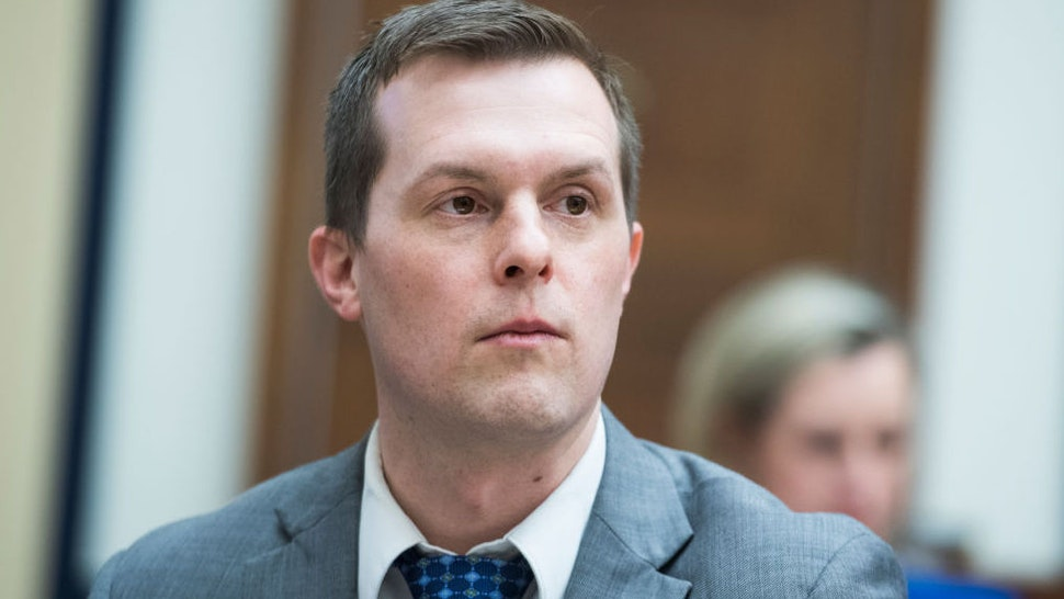 """UNITED STATES - MARCH 6: Rep. Jared Golden, D-Maine, is seen during a House Armed Services Committee hearing titled """"Outside Perspectives on Nuclear Deterrence Policy and Posture,"""" in Rayburn Building on Wednesday, March 6, 2019."""