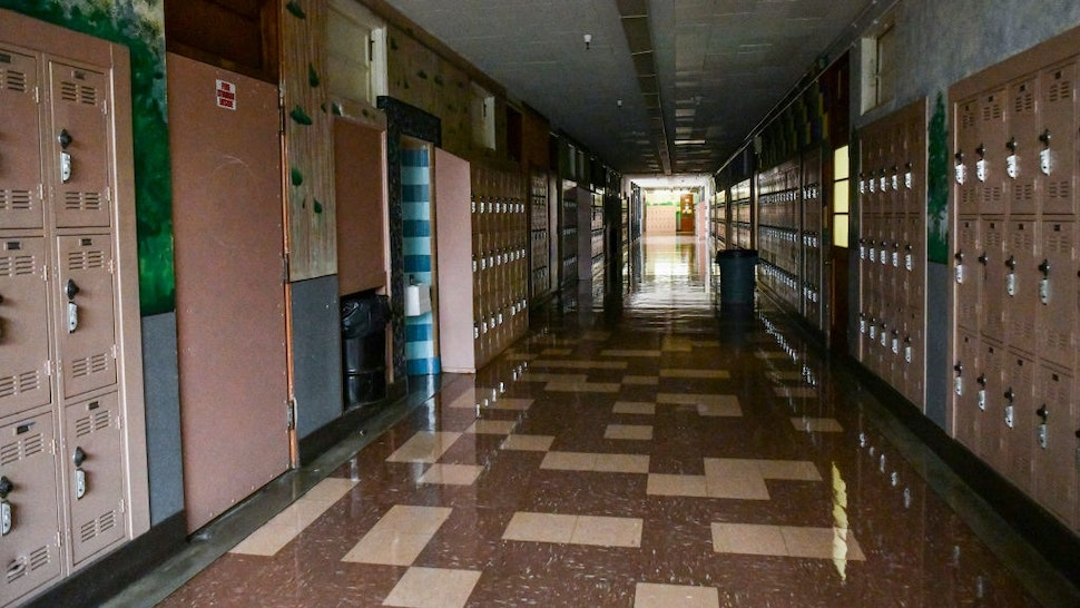 LOS ANGELES, CALIFORNIA - SEPTEMBER 08: Empty Hollywood High hallway on September 08, 2020 in Los Angeles, California. LAUSD school campuses remain closed during the COVID-19 pandemic, however many teachers are opting to broadcast lessons virtually from their empty classrooms.