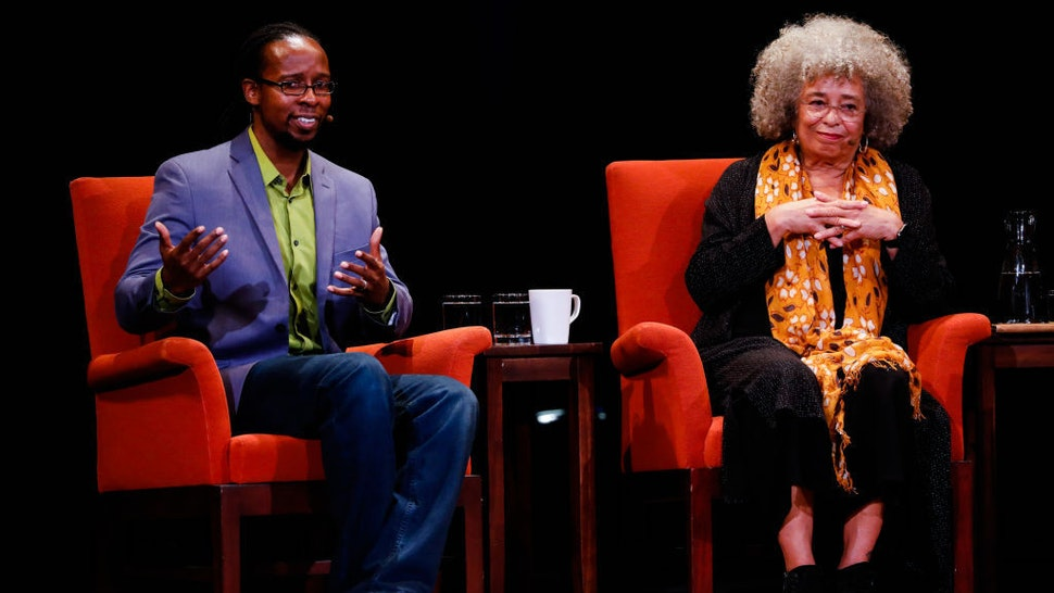 Activist Angela Davis (center) listens during a discussion panel with historian Ibram X. Kendi (left) at City Arts & Lectures in San Francisco, California, on Thursday, Jan. 10, 2019. (Photo by Gabrielle Lurie/San Francisco Chronicle via Getty Images)