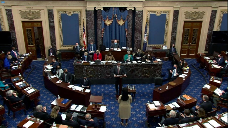 """WASHINGTON, DC - FEBRUARY 13: In this screenshot taken from a congress.gov webcast, Bruce Castor Jr., defense lawyer for former President Donald Trump, speaks on the fifth day of former President Donald Trump's second impeachment trial at the U.S. Capitol on February 13, 2021 in Washington, DC. In a surprise move, the Senate voted 55-45 to call witnesses in the impeachment trial. House impeachment managers had argued that Trump was """"singularly responsible"""" for the January 6th attack at the U.S. Capitol and he should be convicted and barred from ever holding public office again."""