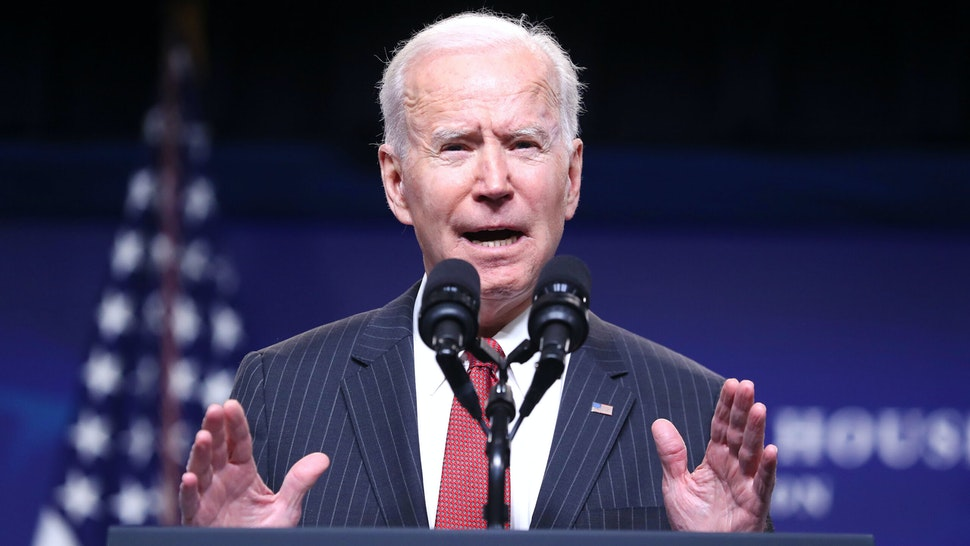 U.S. President Joe Biden speaks at the Eisenhower Executive Office Building in Washington, D.C., U.S., on Wednesday, Feb. 10, 2021. The Biden administration is imposing sanctions on current and former military leaders in Myanmar over their involvement in a coup earlier this month.