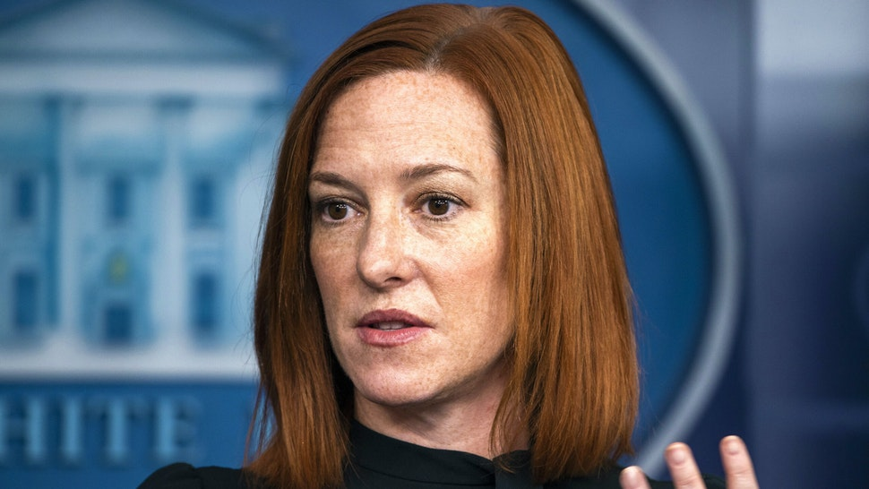 Jen Psaki, White House press secretary, speaks during a news conference in the James S. Brady Press Briefing Room at the White House in Washington, D.C., U.S., on Thursday, Feb. 4, 2021. President Joe Biden told House Democrats on Wednesday that while he was open to tightening the eligibility for his proposed $1,400 stimulus checks, any move to cut the payments' base amount would mean starting his presidency with a broken promise.