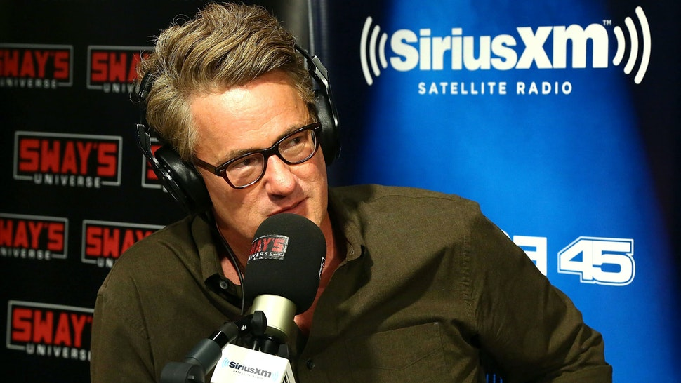 """NEW YORK, NY - AUGUST 02: (EXCLUSIVE COVERAGE) Host of MSNBC's """"Morning Joe"""", Joe Scarborough visits 'Sway in the Morning' with Sway Calloway on Eminem's Shade 45 at SiriusXM Studios on August 2, 2017 in New York City."""