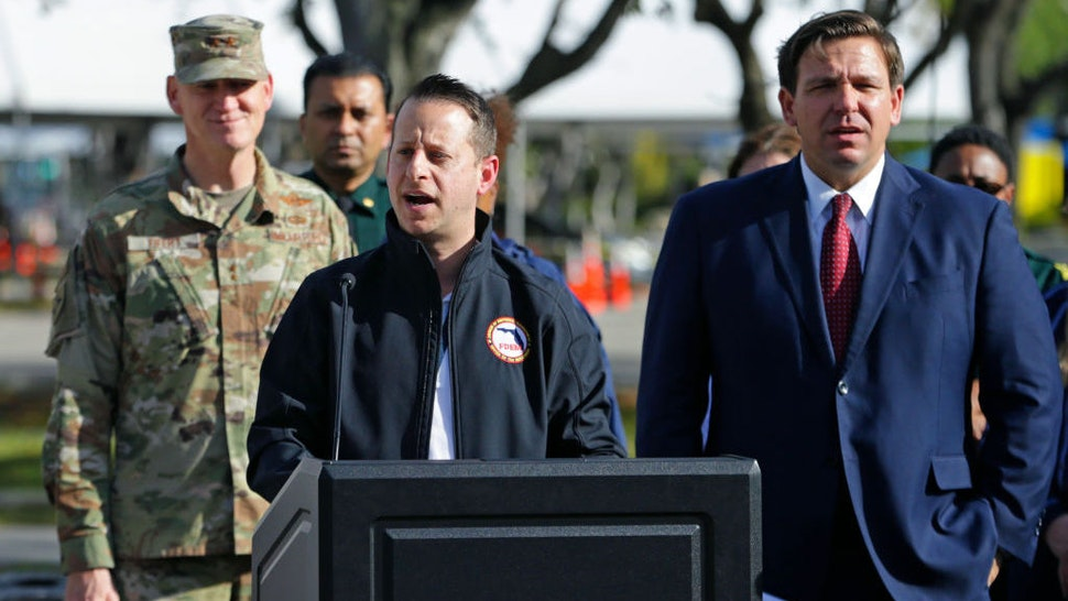 Director of Florida's Division of Emergency Management Jared Moskowitz alongside Florida Gov. Ron DeSantis talks to media during press conference at the Broward County mobile testing at CB Smith Park in Pembroke Pines on Thursday, March 19, 2020. (David Santiago/Miami Herald/TNS)