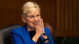 WASHINGTON, DC - JANUARY 27: Former Michigan Governor Jennifer Granholm thanks the committee after testifying before the Senate Energy and Natural Resources Committee during a hearing to examine her nomination to be Secretary of Energy, on Capitol Hill, January 27, 2021.