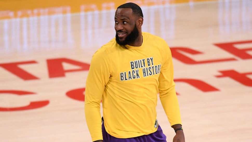 LOS ANGELES, CALIFORNIA - FEBRUARY 26: LeBron James #23 of the Los Angeles Lakers smiles as he warms up before the game against the Portland Trail Blazers at Staples Center on February 26, 2021 in Los Angeles, California. (Photo by Harry How/Getty Images)