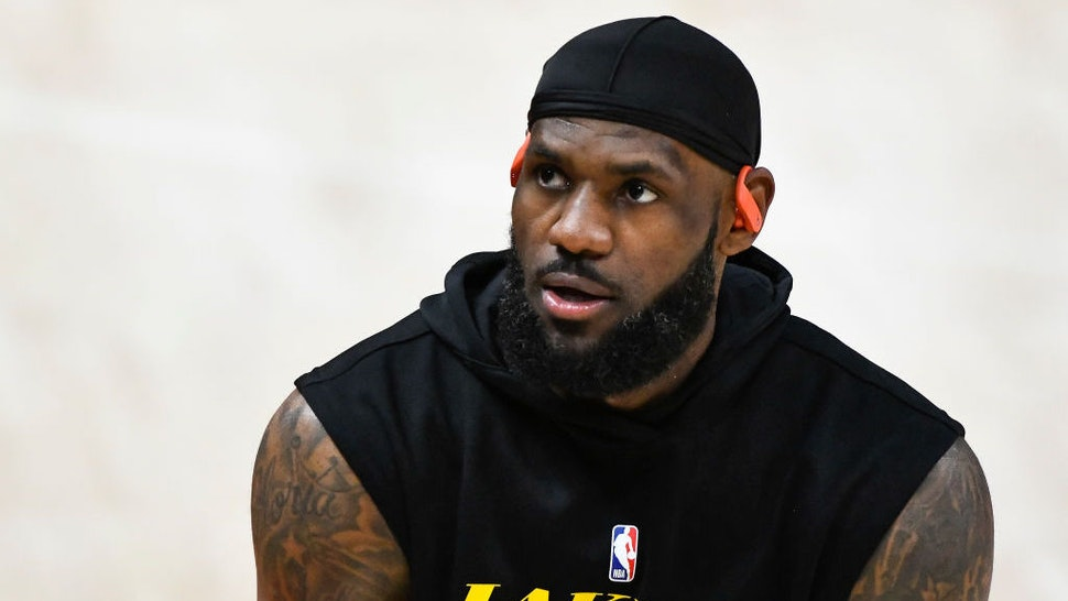 SALT LAKE CITY, UTAH - FEBRUARY 24: LeBron James #23 of the Los Angeles Lakers warms up before a game against the Utah Jazz at Vivint Smart Home Arena on February 24, 2021 in Salt Lake City, Utah. NOTE TO USER: User expressly acknowledges and agrees that, by downloading and/or using this photograph, user is consenting to the terms and conditions of the Getty Images License Agreement. (Photo by Alex Goodlett/Getty Images)