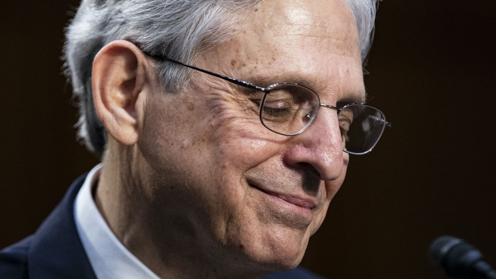 WASHINGTON, DC - FEBRUARY 22: Attorney General nominee Merrick Garland pauses while speaking during his confirmation hearing before the Senate Judiciary Committee in the Hart Senate Office Building on February 22, 2021 in Washington, DC. Garland previously served at the Chief Judge for the U.S. Court of Appeals for the District of Columbia Circuit.