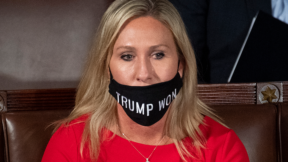 UNITED STATES - January 3: Rep.-elect Marjorie Taylor Greene, R-Ga., wears a Trump Won mask during the first session of the 117th Congress in the House Chamber as members of the 117th Congress are sworn in on Sunday, Jan. 3, 2021.