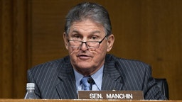 Ranking Member Joe Manchin, D-WV, speaks during a hearing to examine the nomination of Former Michigan Governor Jennifer Granholm to be Secretary of Energy, on Capitol Hill in Washington, DC, on January 27, 2021.