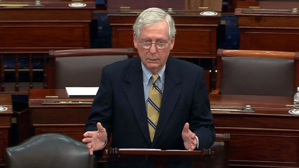"""WASHINGTON, DC - FEBRUARY 13: In this screenshot taken from a congress.gov webcast, Minority leader Sen. Mitch McConnell (R-KY) responds after the Senate voted 57-43 to acquit on the fifth day of former President Donald Trump's second impeachment trial at the U.S. Capitol on February 13, 2021 in Washington, DC. House impeachment managers had argued that Trump was """"singularly responsible"""" for the January 6th attack at the U.S. Capitol and he should be convicted and barred from ever holding public office again."""