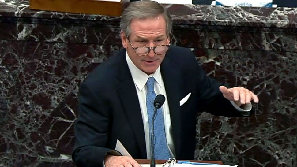 """WASHINGTON, DC - FEBRUARY 13: In this screenshot taken from a congress.gov webcast, Michael van der Veen, defense lawyer for former President Donald Trump, gives closing arguments on the fifth day of former President Donald Trump's second impeachment trial at the U.S. Capitol on February 13, 2021 in Washington, DC. House impeachment managers had argued that Trump was """"singularly responsible"""" for the January 6th attack at the U.S. Capitol and he should be convicted and barred from ever holding public office again. (Photo by congress.gov via Getty Images)"""
