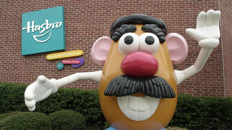 A statue of Mr. Potato Head greets visitors to the corporate headquarters of toymaker Hasbro Inc. in Pawtucket, Rhode Island, on Friday, April 23, 2004. Photographer: Michael Springer/Bloomberg News