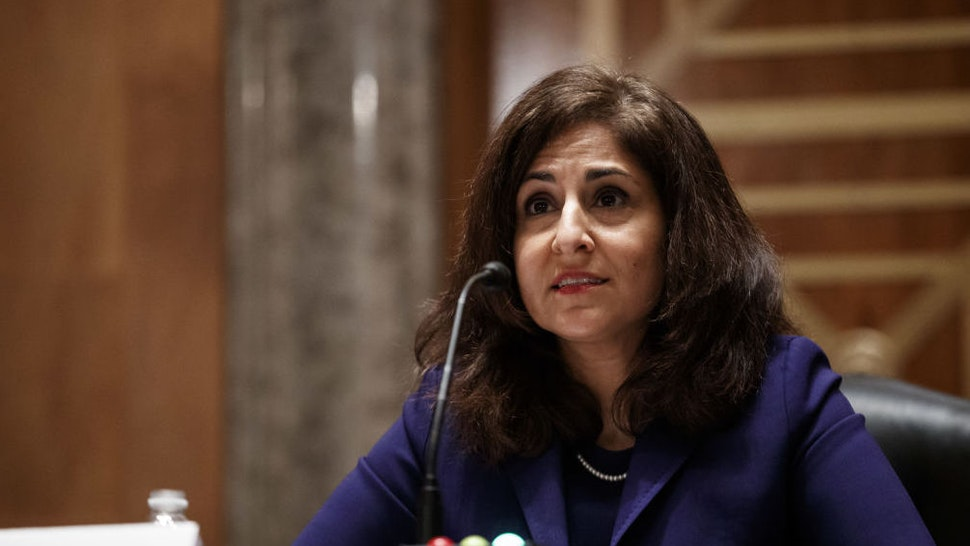 Neera Tanden, director of the Office and Management and Budget (OMB) nominee for U.S. President Joe Biden, speaks during a Senate Homeland Security and Governmental Affairs Committee confirmation hearing in Washington, D.C., U.S., on Tuesday, Feb. 9, 2021. Tanden, who pledged to work with both parties after drawing sharp criticism from Republicans for sniping at them on social media, worked on the Affordable Care Act during the Obama years and was an aide to Hillary Clinton from her time as first lady.