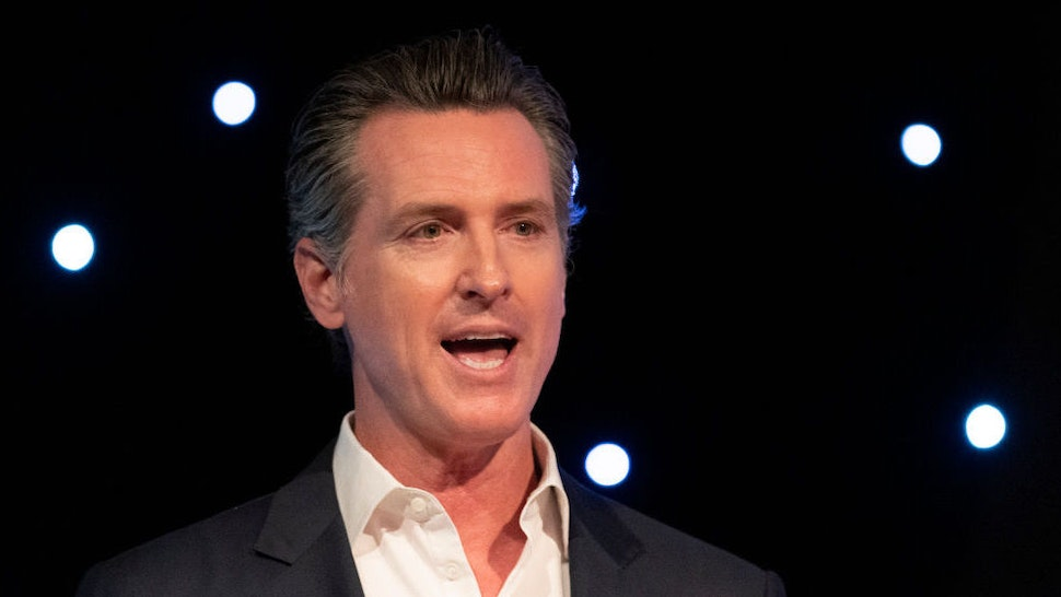 California Governor Gavin Newsom speaks at Planet's Explore 19 Conference in San Francisco, California on October 15, 2019. The Governor talks about the importance of protecting our environment and enhance the states capability at dealing with natural disasters such as wild fire.