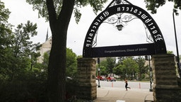 Weber Arch at Northwestern University campus in Evanston, Illinois on Tuesday, July 21, 2020.