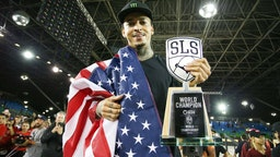 SAO PAULO, BRAZIL - SEPTEMBER 22: Nyjah Huston of the United States poses with his trophy after winning the first place during the WS/SLS 2019 World Championship at Parque Anhembi on September 22, 2019 in Sao Paulo, Brazil.