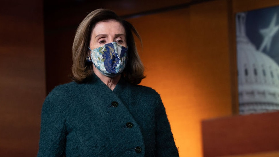 US Speaker of the House, Nancy Pelosi, Democrat of California, arrives for her weekly press briefing on Capitol Hill in Washington, DC, on January 28, 2021.