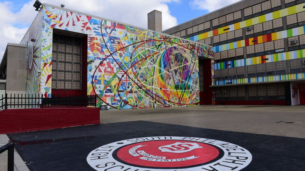 Exterior of Philadelphia High School during the VH1 Save The Music Foundation Toyota Giving Assembly at Philadelphia High School on February 13, 2019 in Philadelphia, Pennsylvania.