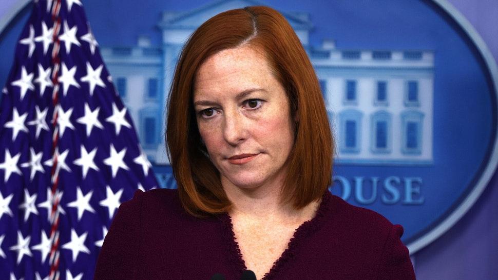 WASHINGTON, DC - FEBRUARY 09: White House Press Secretary Jen Psaki listens during a news briefing at the James Brady Press Briefing Room of the White House February 9, 2021 in Washington, DC. Psaki held a news briefing to answers questions from the members of the press.