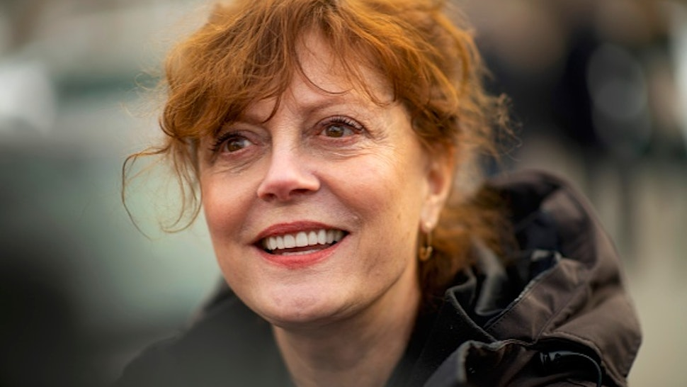 WATERLOO, IA - FEBRUARY 1: Actress Susan Sarandon, a supporter of Democratic Presidential candidate Bernie Sanders, greets local campaign volunteers after speaking during a field office event on February 1, 2020 in Waterloo, Iowa. On the penultimate day of campaign before the Iowa Caucus, Democratic Presidential candidates and their supporters are traversing the state to greet prospective voters.
