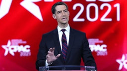 ORLANDO, FLORIDA - FEBRUARY 26: Sen. Tom Cotton (R-AR) addresses the Conservative Political Action Conference held in the Hyatt Regency on February 26, 2021 in Orlando, Florida. Begun in 1974, CPAC brings together conservative organizations, activists, and world leaders to discuss issues important to them.