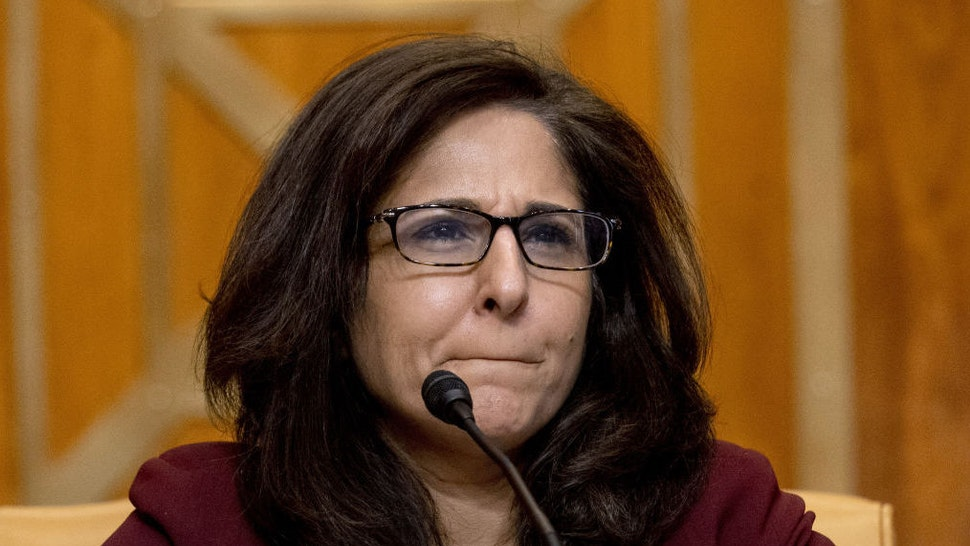 Neera Tanden, director of the Office and Management and Budget (OMB) nominee for U.S. President Joe Biden, appears before a Senate Budget Committee confirmation hearing in Washington, D.C., U.S., on Wednesday, Feb. 10, 2021. Tanden apologized for partisan tweets, pledged to distribute stimulus checks quickly, and defended her stance on Wall Street and Silicon Valley's influence in yesterday's hearing on her nomination to lead the OMB.