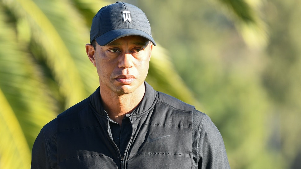 PACIFIC PALISADES, CA - FEBRUARY 21: Tiger Woods looks on from the 18th hole during the final round of The Genesis Invitational golf tournament at the Riviera Country Club in Pacific Palisades, CA on February 21, 2021. The tournament was played without fans due to the COVID-19 pandemi