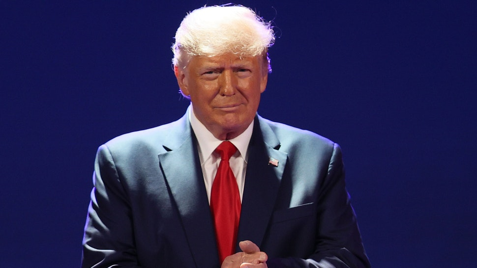 ORLANDO, FLORIDA - FEBRUARY 28: Former President Donald Trump addresses the Conservative Political Action Conference held in the Hyatt Regency on February 28, 2021 in Orlando, Florida. Begun in 1974, CPAC brings together conservative organizations, activists, and world leaders to discuss issues important to them.