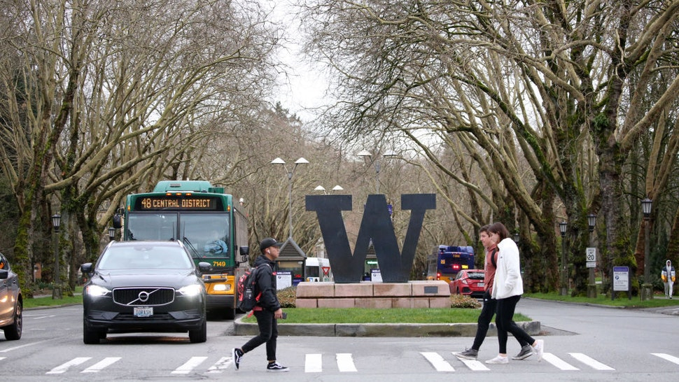 Students at the University of Washington are on campus for the last day of in-person classes on March 6, 2020 in Seattle, Washington. The University will close starting Monday, March 9, as a precautionary reaction to the novel coronavirus, COVID-19, outbreak for the remainder of the winter quarter.
