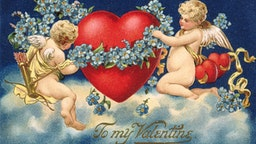 To My Valentine Postcard with Two Cupids