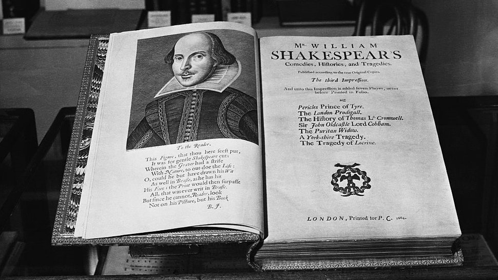 (Original Caption) The twelfth Antiques Dealers' Fair and Exhibition is to be opened tomorrow in the Great Hall at Grosvenor House, Park Lane, London, W., by Mrs Winston Churchill, wife of the Prime Minister. 10/6/52. Antique Dealers' Fair: a copy of the third Folio edition of Shakespeare. Printed in 1664. (Photo by ©