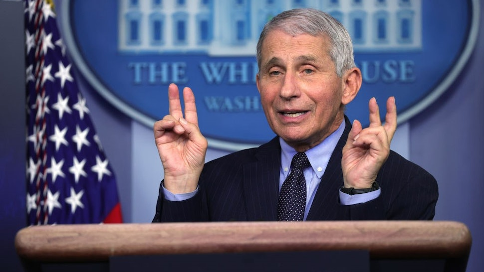 WASHINGTON, DC - JANUARY 21: Dr Anthony Fauci, Director of the National Institute of Allergy and Infectious Diseases, speaks during a White House press briefing, conducted by White House Press Secretary Jen Psaki, at the James Brady Press Briefing Room of the White House January 21, 2021 in Washington, DC. Psaki held her second press briefing since President Joe Biden took office yesterday. (Photo by